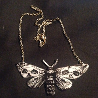 Death moth pendant necklace