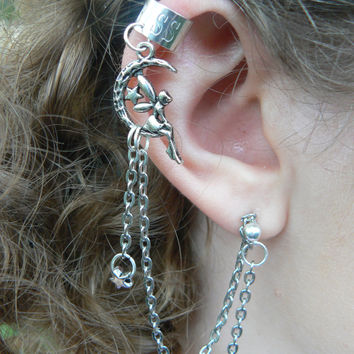 fairy on moon ear chained cuff ONE