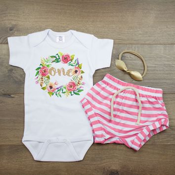 Boho Wreath Pink Striped Shorts 1st Birthday Outfit