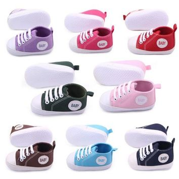 Colors Infant Baby Kids Boy Girl Sneakers Soft Sole Non-slip Crib Canvas Shoes