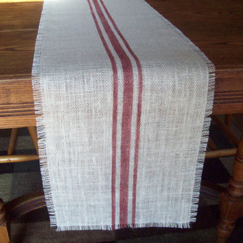 Burlap Table Runner with Hand Painted Grain Sack Style Barn Red Stripes 12 x 84