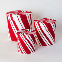 Candy Cane Striped Boxes - Set of 3