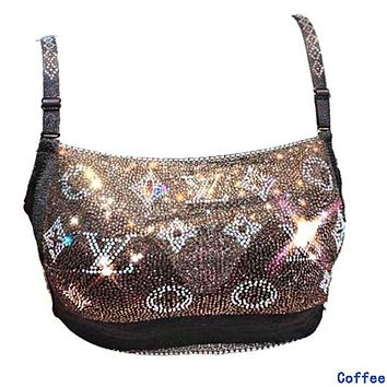 LV Louis Vuitton Hot Sale Women Fashion Luxury Shiny Diamond Bra Coffee