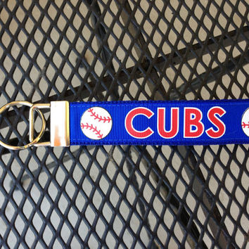 Cubs Baseball Inspired Keychain fob
