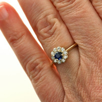 18K Blue Sapphire Ring Diamond Halo Sapphire Engagement Ring White Yellow Rose Gold Custom