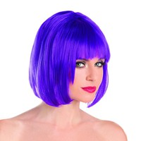 Purple Solid Color Short Bob Wig