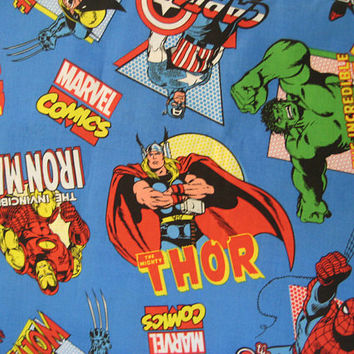 Marvel Comics Superhero Fabric By The HALF Yard Thor Hulk Captain America Spiderman Kids Boy Bedroom Decor Fabric Craft Clean Destash UNUSED