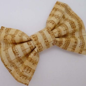 Gold and Cream Musical Notes Hair Bow Clip - Symphony Fabric Hair Accessory - Sweet Lolita Style