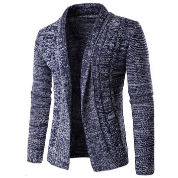 Autumn Winter Knitting Jacket Men Fashion Shawl Collar Knitted Sweater Cardigan Long Sleeve Open Front Male Casual Wool Knitwear