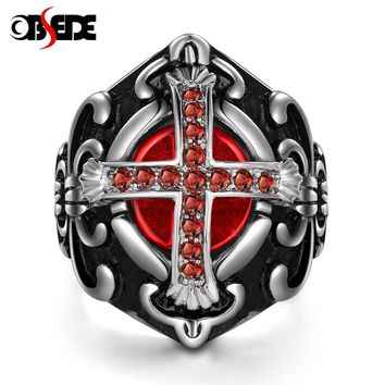 OBSEDE Vintage Prayer Cross Rings for Men Jewelry Red Stone Cubic Zirconia Titanium Stainless Steel Ring Male Party Gift Punk