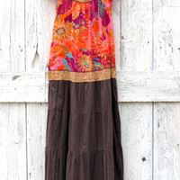 Eco Bohemian Sundress , Upcycled hippie chic maxi dress bright colors and brown with sequins , sustainable eco fashion by wearlovenow size M