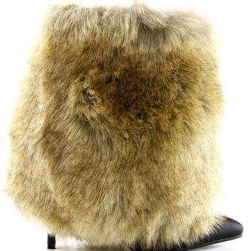 Chioe-2 Faux Fur Pointy Toe Stiletto High Heel Pull On Ankle Bootie Boot Camel