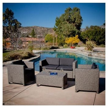 4-Piece Outdoor Wicker Resin Patio Furniture Seating Set with Cushions
