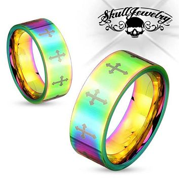 Psychedelic Cross Stainless Steel Ring (c062)