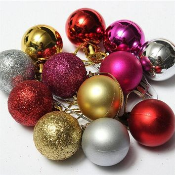 DKF4S 24pcs/ lot Christmas Tree Decor diameter 4cm Ball Bauble Hanging Xmas Party Ornament decorations for Home