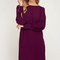 Fall Shift Dress - Plum