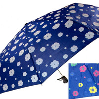 "Color Changing Umbrella Blue 42"" Rain Stoppers Floral Flowers Auto Open Close"