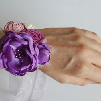 wedding cuff bracelet, bridal wrist corsage in purple, violet and pink, bracelet with lace, satin, pearls