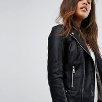 Vero Moda Tall Leather Look Biker Jacket at asos.com