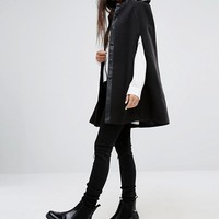 Noisy May Cape Coat with Leather Look Detail at asos.com
