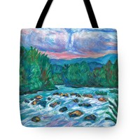 Stepping Stones On The New River Tote Bag