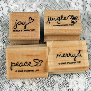 """STAMPIN' UP Stamp Set Rubber Stamp Set Christmas  """"Perfect Ending""""  Mint Never Used 2006 Retired Set Scrapbooking"""