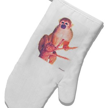 Monkey in Tree Watercolor White Printed Fabric Oven Mitt
