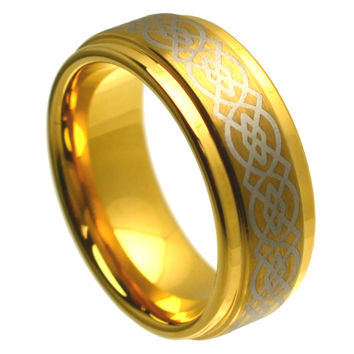 Tungsten Carbide Yellow Tone High Polish Laser Engraved Wicca Celtic Ring 8MM