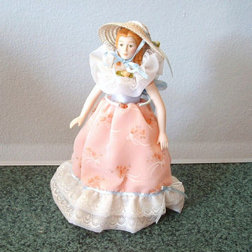 Vintage Porcelain Doll AVON Collectible Victorian Southern Girl In Pink Party Dress