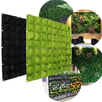 72 Wall Pockets Hanging Garden Wall Flower Planter Bag Indoor/Outdoor Herb Pot Living Indoor Wall Planter Garden Supplies Decor