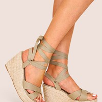 Cross Strap Tie Leg Espadrille Wedges