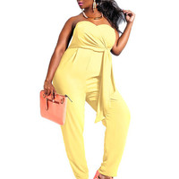 Plus Size Yellow Strapless Sash Polyester Jumpsuit