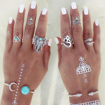 FAMSHIN 2017 8pcs /Pack Boho Retro Elephant Snake Blue gem Rings Lucky Stackable Midi Rings Set of Rings for Women Party