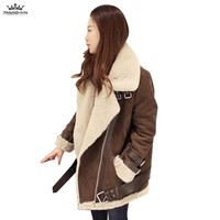 tnlnzhyn 2017 Autumn Winter Women Thick Suede Leather Lamb Wool Coat Lapel Faux Leather Coats Fashion Warm Cotton Coats Y706