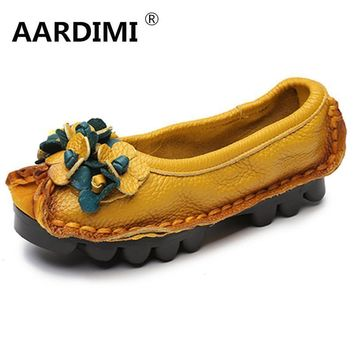Factory Outlet National Flowers Handmade Genuine Leather Shoes Women Retro Soft Bottom