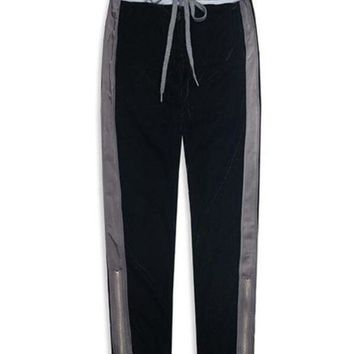 DCCKON3 velour side striped sweatpantsmen double kintted waistband ankle length track pants free shipping