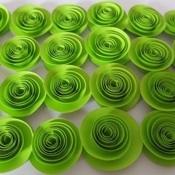 """Neon Green loose paper flowers set 24 fluorescent lime 1.5"""" roses teen bedroom decor, wedding decorations, bridal shower party supplies"""