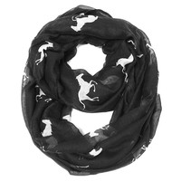 Galloping Horse Infinity Scarf - Black