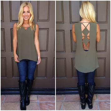 Laurel Diamond Back Blouse - OLIVE