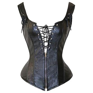 Womens Corset Sexy Faux Leather Corselet black zipper Corset overbust Wetlook Bustier sexy top Espartilhos for Women