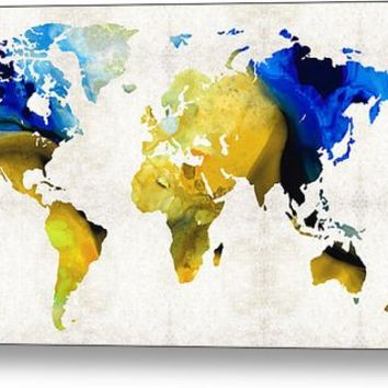 World Map 16 - Yellow And Blue Art By Sharon Cummings Metal Print