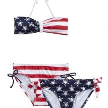 3 Piece Stars & Stripes Bikini Swimsuit | Girls Bikinis Clearance Swimsuits | Shop Justice