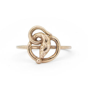 The Serpent Talisman Ring - 9ct Gold Snake Ring