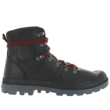 Palladium Pallabrouse Hiker   Black/red/castlerock Leather Hiking Boot