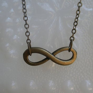 Infinity necklace- Bronze infinity necklace- Eternity -Graduation gift- Bridesmaids gift-Anniversary gift- Simple- Statement- Summer fashion