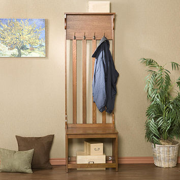 Upton Home Mission Oak Hall Tree Entry Bench | Overstock.com Shopping - The Best Deals on Benches