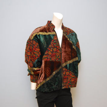 Vintage 1990's Brown, Green and Orange Velvet Patchwork Patterned Jacket Windbreaker Crazy Bohemian Tribal Aztec Print Size Medium Coat