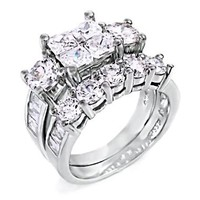 Vanessa: 8.15ct Russian Ice on Fire CZ 2 pc Bridal Wedding Ring Set 925 Silver, 3109A