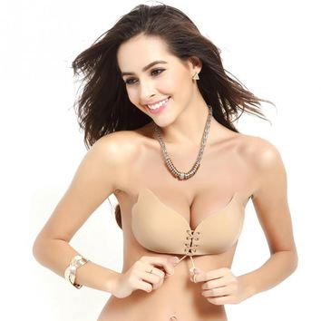 New Sexy Push Up Wire Free Bra Silicone gorge Strapless Nude Lace Up Cup Seamless Invisible Bras For Women
