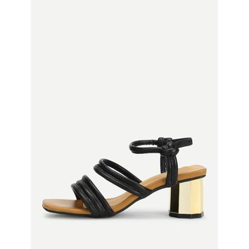 Strappy Chunky Heeled Sandals